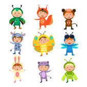 Children Wearing Costumes of Animals and Insects Vector Illustration Set