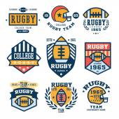 Collection of Rugby club emblems in flat design vector illustration set