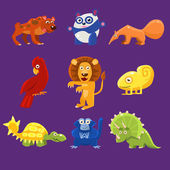 Africa Animals with Emotions Vector Illustration Set