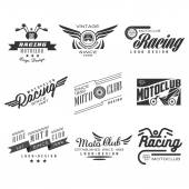 Vintage Motorcycle Labels Badges Text and Design Elements Vector Black and White Collection