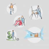 Illustration of professions, icon, seamstress, carpenter,  paint