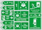Set of emergency exit Sign (fire exit emergency exit fire assembly point evacuation lane)
