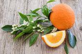 Oranžová na dřevěném prkénku