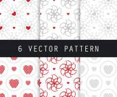 Seamless decorative backgrounds with flowers and hearts Vector seamless patterns Romantic collection