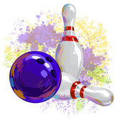Bowling ball and pins on background of multicolor grunge blots of paint