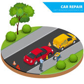 Roadside assistance car Man changing wheel on a roadside Auto service Protection of car Insurance accident car on road Vector flat isometric illustration