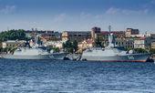 Pattuglia di navi (Corvette) Persistente e custodi sulla celebrazione della giornata della Marina a San Pietroburgo, la Neva, 27 luglio 2014