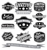 Collection of black and white vintage Quality labels