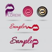 Vector logo design for beauty and cosmetic services with sketched mout
