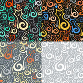 Set of 4 vector seamless background with abstract cats Eps-8