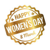 Happy Women's Day rubber stamp gold on a white background