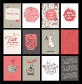 Set of 12 cute valentine's day hand-drawn greeting cards