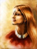 Junge, bezaubernde Frau mit lange welliges Haar, ornamentale Tätowierung auf Gesicht
