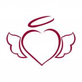 Vector hand drawn heart with wings and halo on top