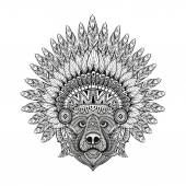 Hand Drawn patterned Bear in zentangle style in  Feathered War bonnet high datailed headdress for Indian Chief American boho spirit Vintage sketch vector illustration for tattoos t-shirt print