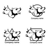Set of heads of bull and bear logos on white background Vector illustration