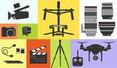 Silhouette Icon Cinema Footage Photo Professional Equipment Technology Vector Illustration