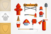 Colorful vintage flat icon set or illustration for infographic Equipment for firefighter or volunteer