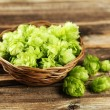 Постер, плакат: Hops in basket on wooden background