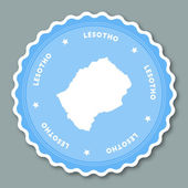 Lesotho sticker flat design Round flat style badges of trendy colors with country map and name Country sticker vector illustration