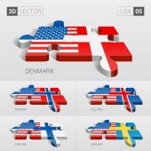 USA and Denmark Iceland Norway Finland Sweden Flag 3d vector puzzle Set 05