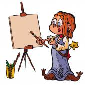 A little witch paints a picture Write or draw on canvas