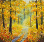 Original oil painting on canvas: Road in the autumn forest