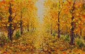 Autumn landscape, beautiful park on painting. Golden autumn.