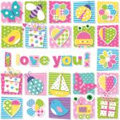 Illustration of birds bees ladybugs butterflies presents robots boats hearts and flowers collection pattern with I love you text on colorful rectangular background