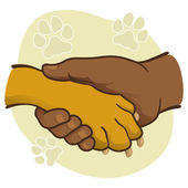 Illustration human hand holding a paw, African descent. Ideal for catalogs, informative and veterinary institutional material