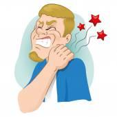 Luly Maskottchen Illustration mit Muskelschmerzen, Krämpfe seine Hand auf den Hals verrenken anzeigt. Ideal für Kataloge, Informations- und institutionellen Material