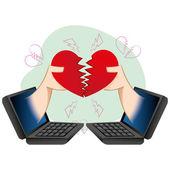 Computer-Illustration und Notebook, Menschen in einer liebevollen virtuelle Trennung. Ideal für Kataloge, informative und institutionelle guides