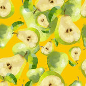 Watercolor seamless pattern of pears