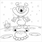 Cartoon    merry   martian meets an alien beast on a background of space in stars coloring book