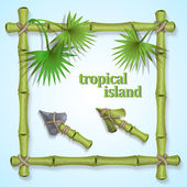 Frame of bamboo leaves with tropical palm trees and two types of cursors for website design in the style of tropical islands