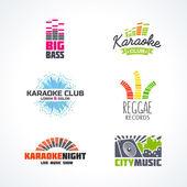 Fifth set of dj music equalizer logo vector