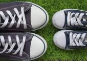 Classic sneakers on the green grass