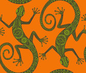 Vector hand drawn seamless pattern with  lizards  or salamanders with ethnic tribal pattern Beauty reptile decoration  in green and orange colors
