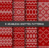 Set with seamless winter patterns Red and white knitted background in scandinavian style