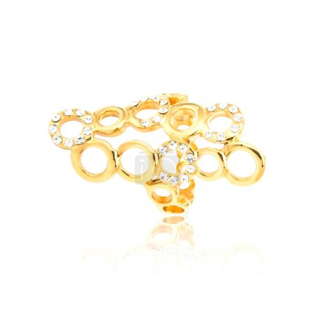 Golden diamond ring isolated on white