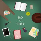 Back to school background with education stationery supplies