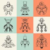 Sada devíti vektorové ilustrace s kreslenými roboty