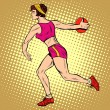 Постер, плакат: Girl discus thrower athletics summer sports games