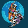 Постер, плакат: Football soccer match astronauts play