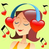 Girl listening to music with headphones in the form of a red heart flying around notes