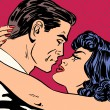 Постер, плакат: Kiss love movie romance heroes lovers man and woman pop art comi