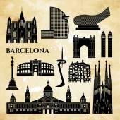 Barcelona monuments detailed silhouette Vector illustration