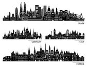 Městské panorama silueta sada