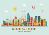 Barcelona skyline detailed silhouette Vector illustration