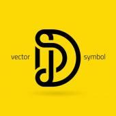 Vector graphic creative line alphabet symbol  Letter D